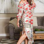 Große größe Blumendruck Tunika Kleid mit Gürte