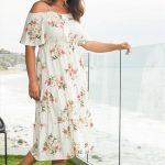 Große größe Geblümtes Maxi Sommerkleid mit offener Schulter