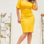 Große größe Schulterfreies, figurbetontes Gelb Abendkleid