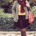 Winter outfits für mollige Frauen Beaniemützen mit Schal