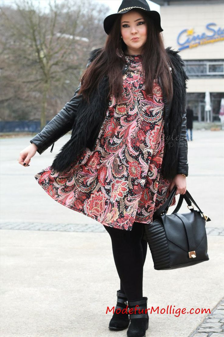 Winter outfits für mollige Frauen Gamaschen mit Blumenspitze Kleider