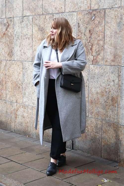 Winter Outfit straße stil für Mollig Damen
