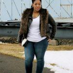 Winter outfits für mollige Frauen Pelzjacken in Übergröße