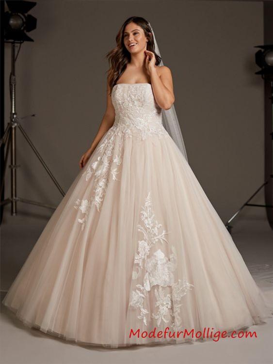 Beige Prinzessin großen Größen Brautkleid mit Schlüsselloch zurück