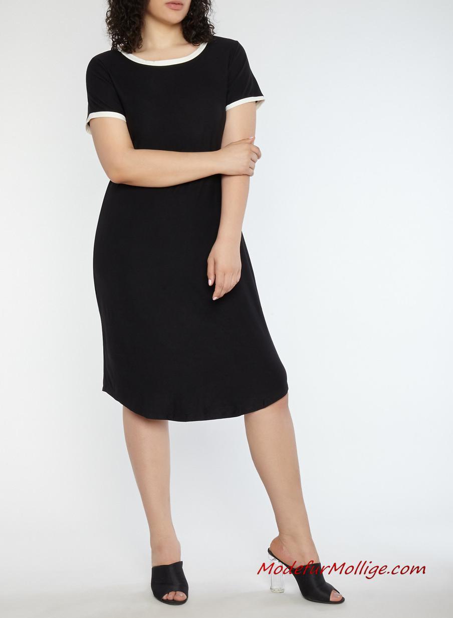 Große Größe schwarzes kleid eingesperrt vorderseite midikleid