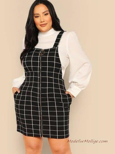 Schicke Jeans Overall Kleid für Mollige Damen
