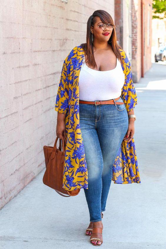 Schicke Großen Größen Outfits mit einem Kimono